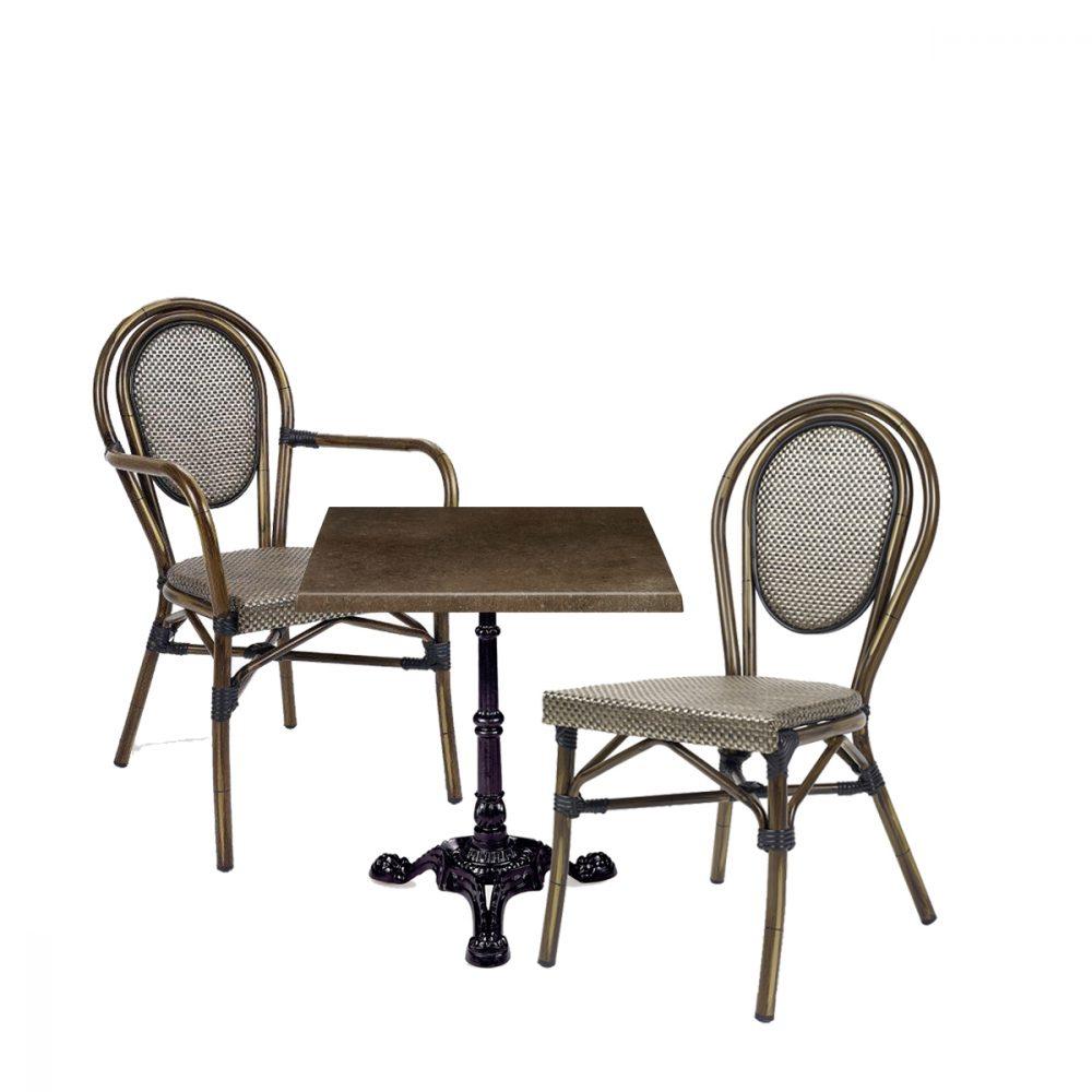 Conjunto mesa paris con tablero bronce y silla y sillon bulevar dorado
