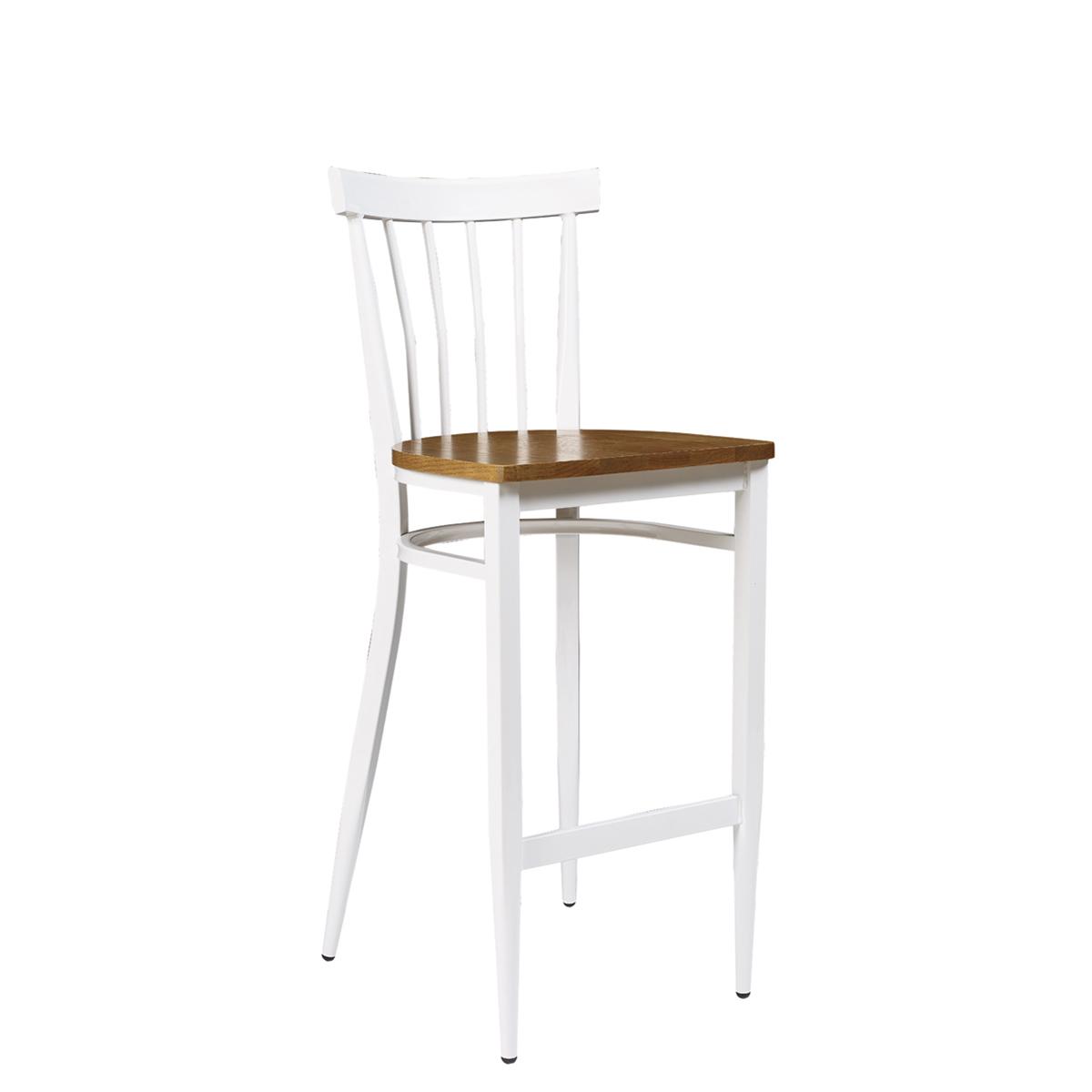 banqueta baltimore pintada blanco con asiento macizo