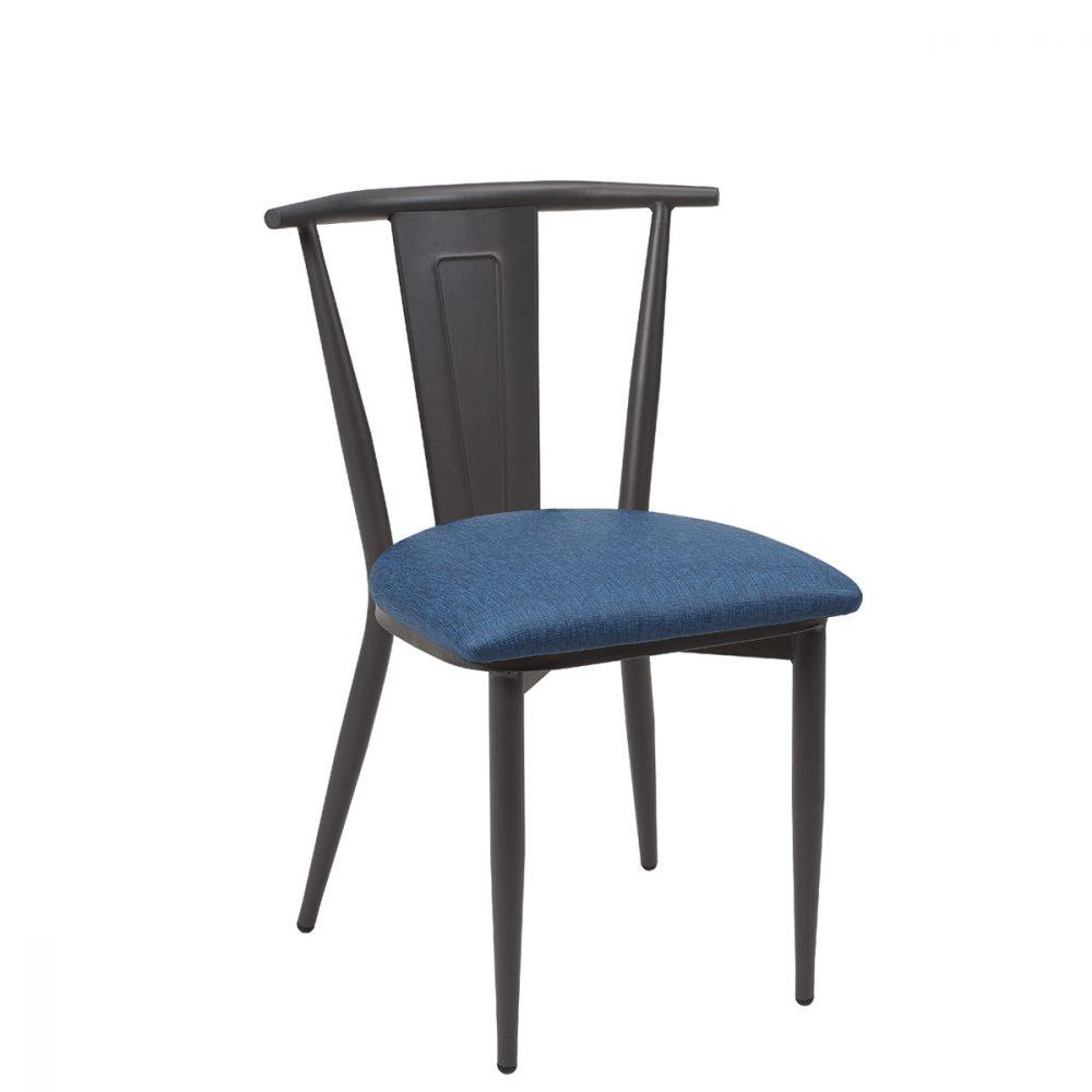 silla alabama grafito asiento tapizado azul