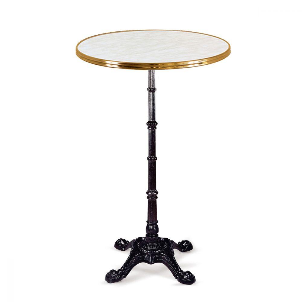 mesa Paris alta 4P con tablero redondo marmol aro de latón REYMA