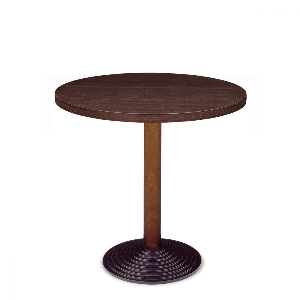 mesa 4610 columan de madera y tablero melamina redonda REYMA