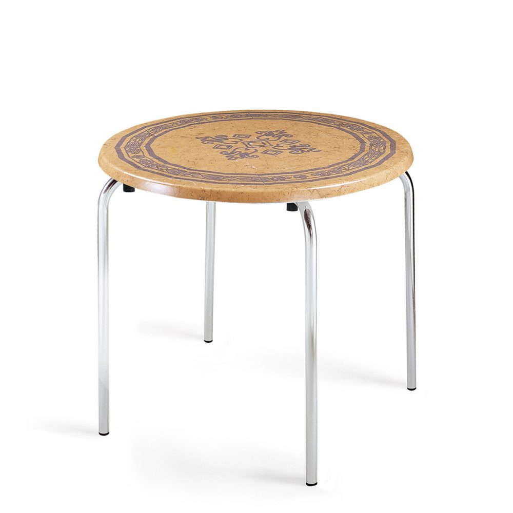 mesa apilable 4 patas tablero rendondo