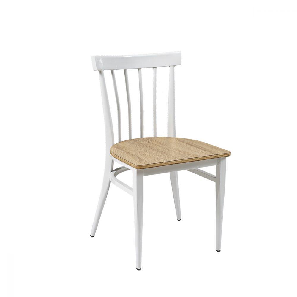 silla baltimore blanca asiento laminado roble