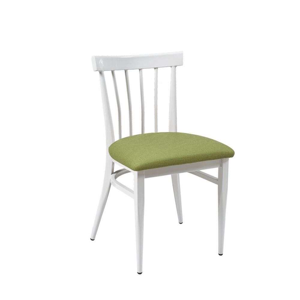 silla blatimore blanca asiento tapizado verde
