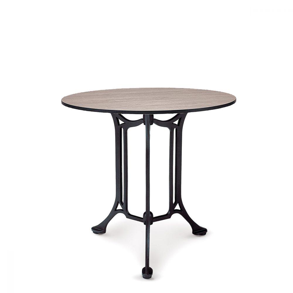 mesa bulevar con 3 patas y tablero redondo