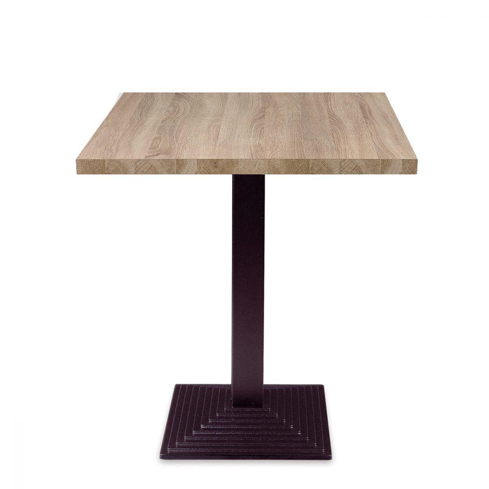 mesa epoca de 75cm de altura con pie de fundicion de hierro y tablero en melamina
