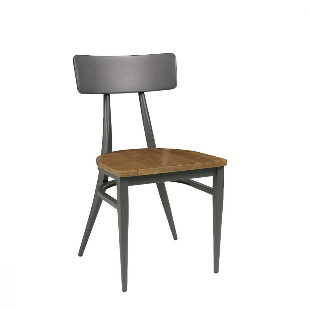 silla montana de acero pintado grafito y asiento macizo
