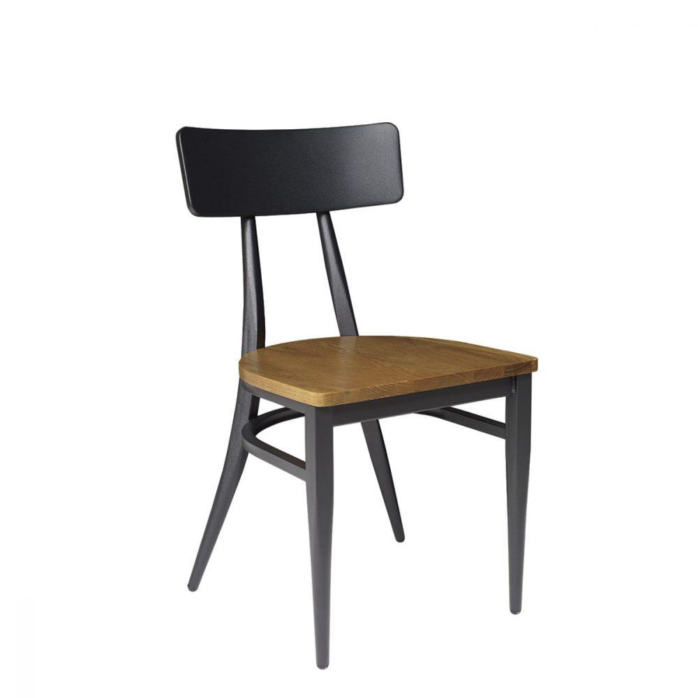 silla montana negro con asiento macizo