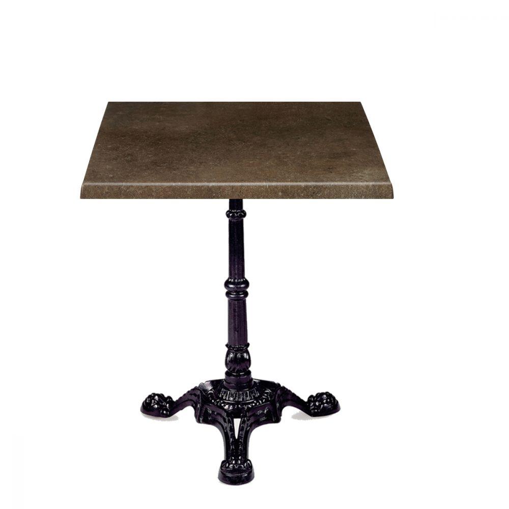 mesa paris de tres patas con tablero bronce