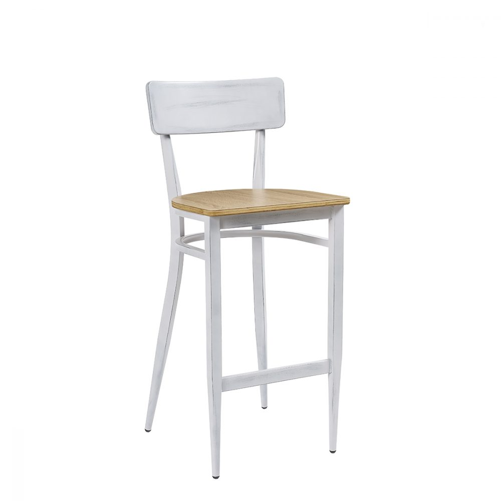 Banqueta pensilvania blanca envejecida con asiento laminado roble vintage