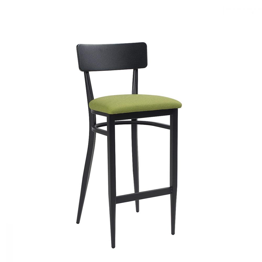 banqueta pensilvania negra con asiento tapizado verde