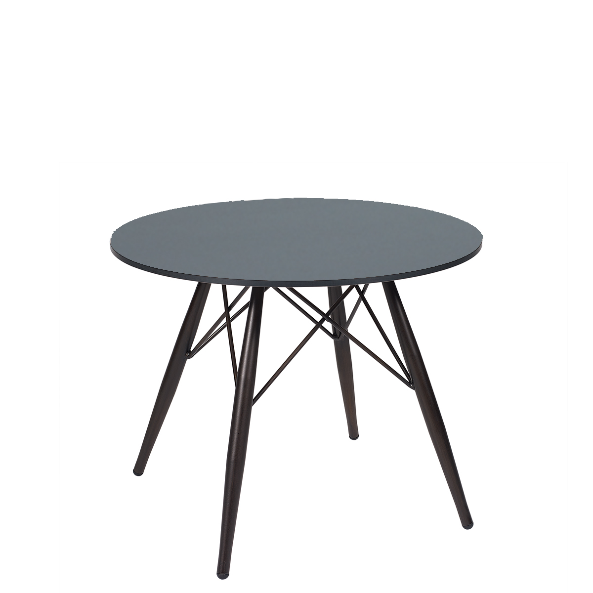 mesa picasso baja con pata negra y tablero redondo compact gris marengo REYMA