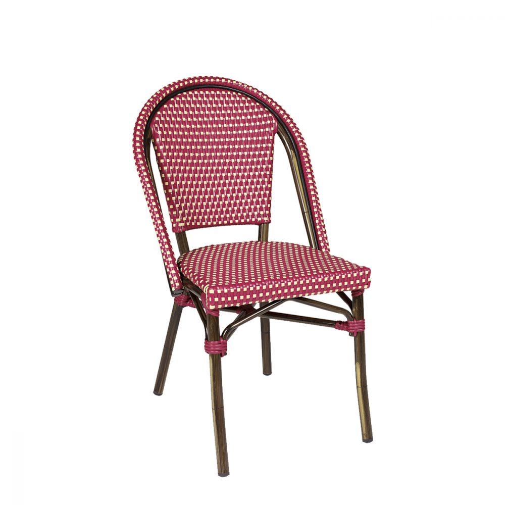 silla paris medula rojo y crema