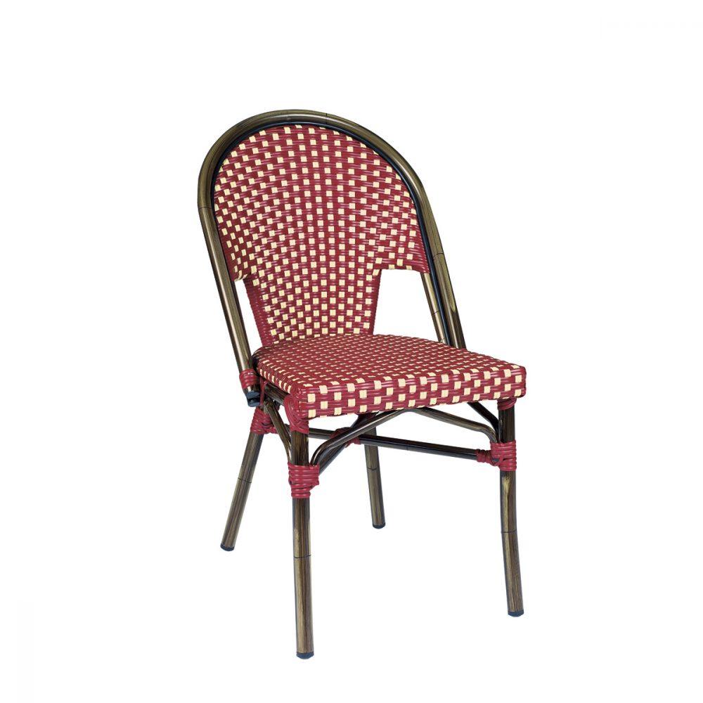 silla tivoli rojo y crema