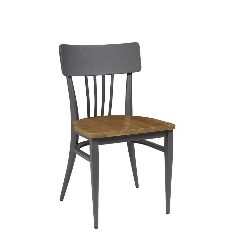 silla nebraska pintada grafito con asiento madera macizo
