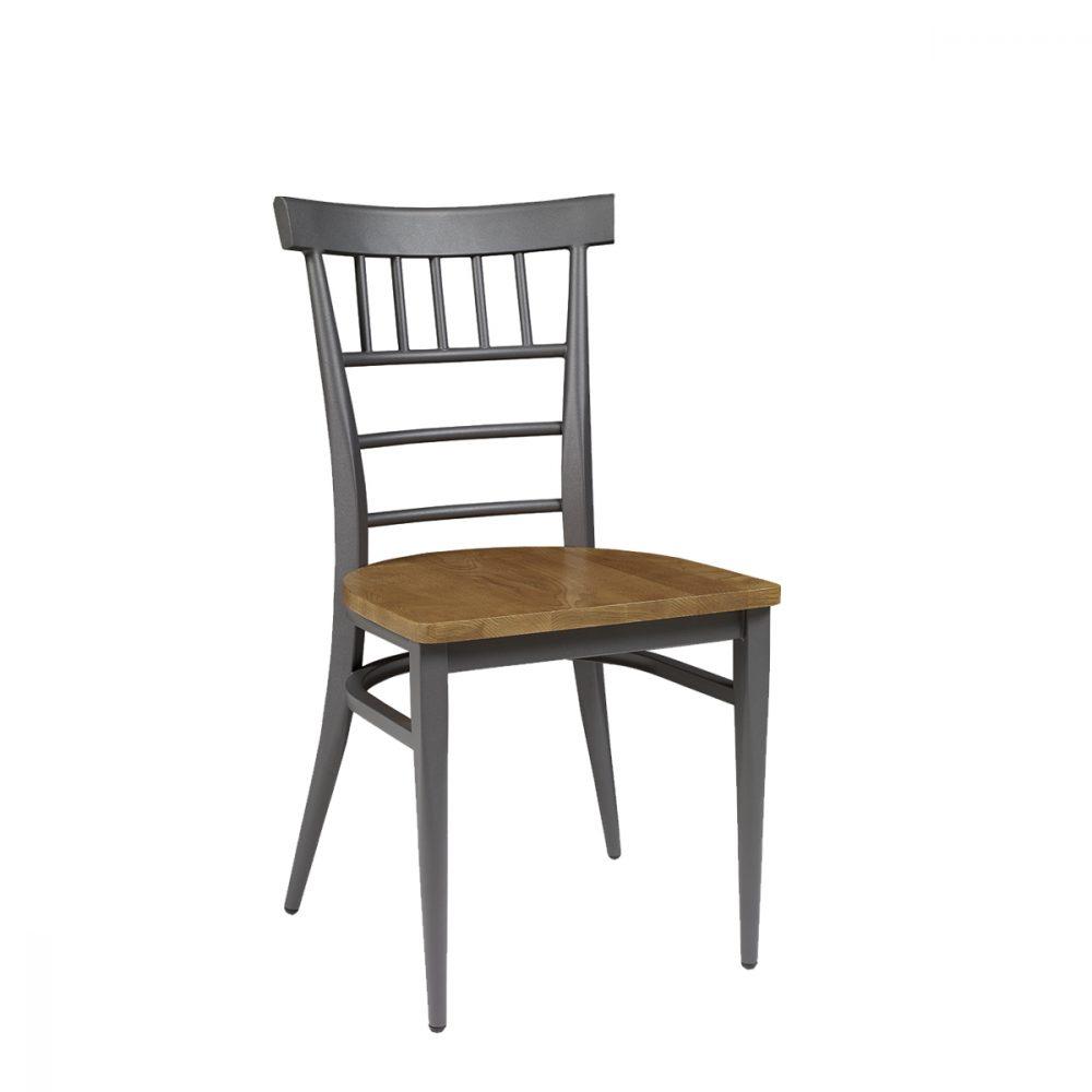 silla nevada con armazon pintado grafito y asiento macizo