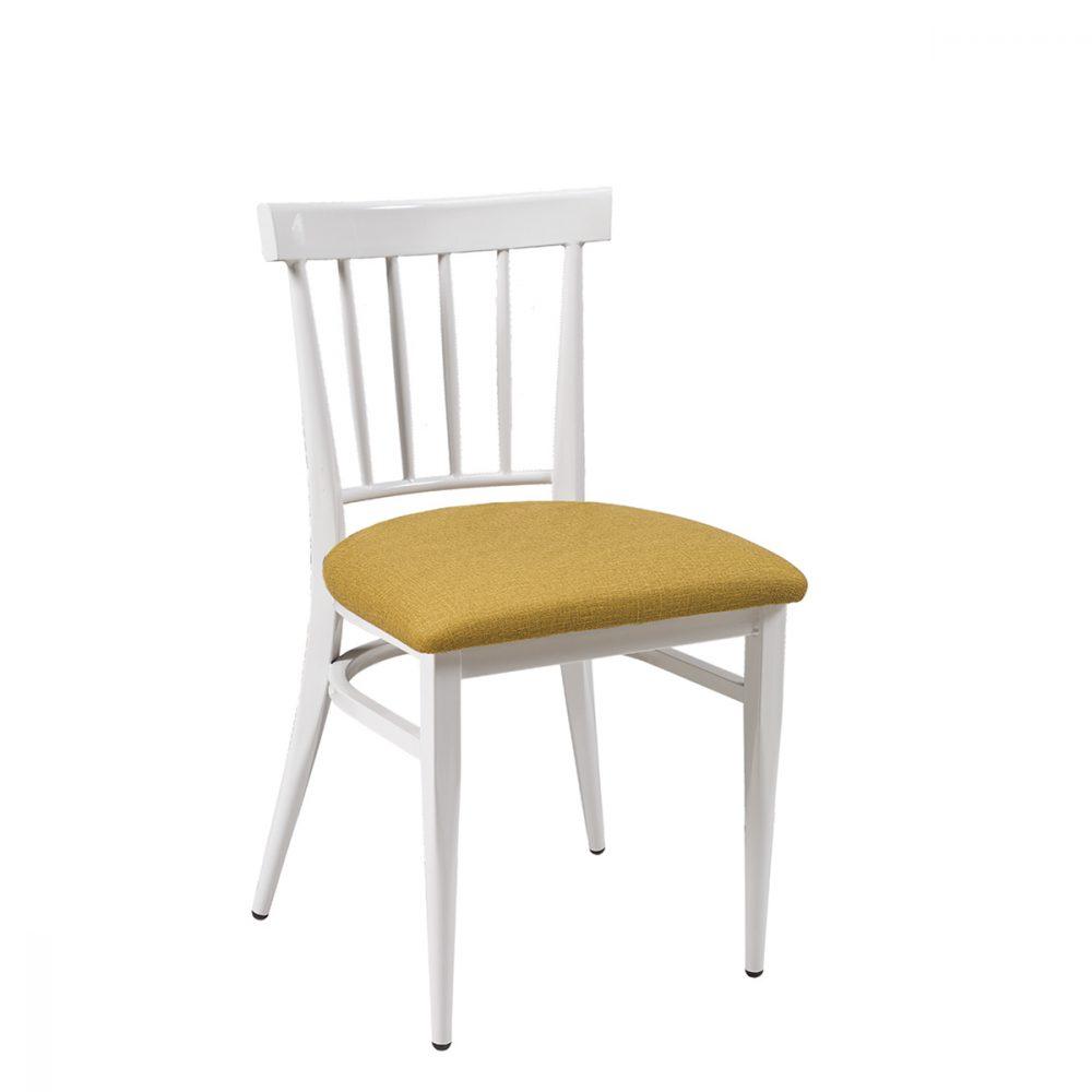 silla arizona blanca tapizado mostaza