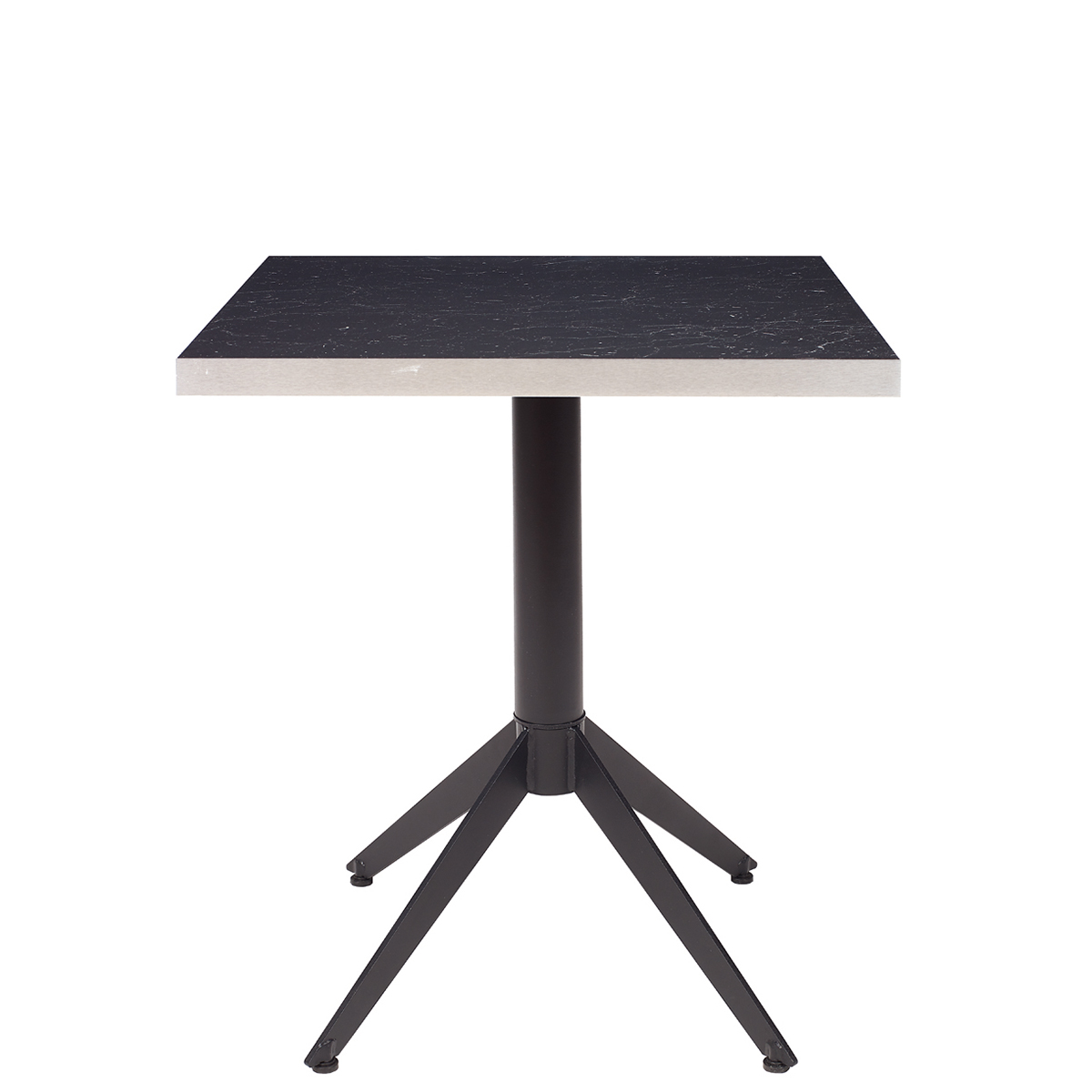 mesa milano con tablero cuadrado metalmelamina zeus negro