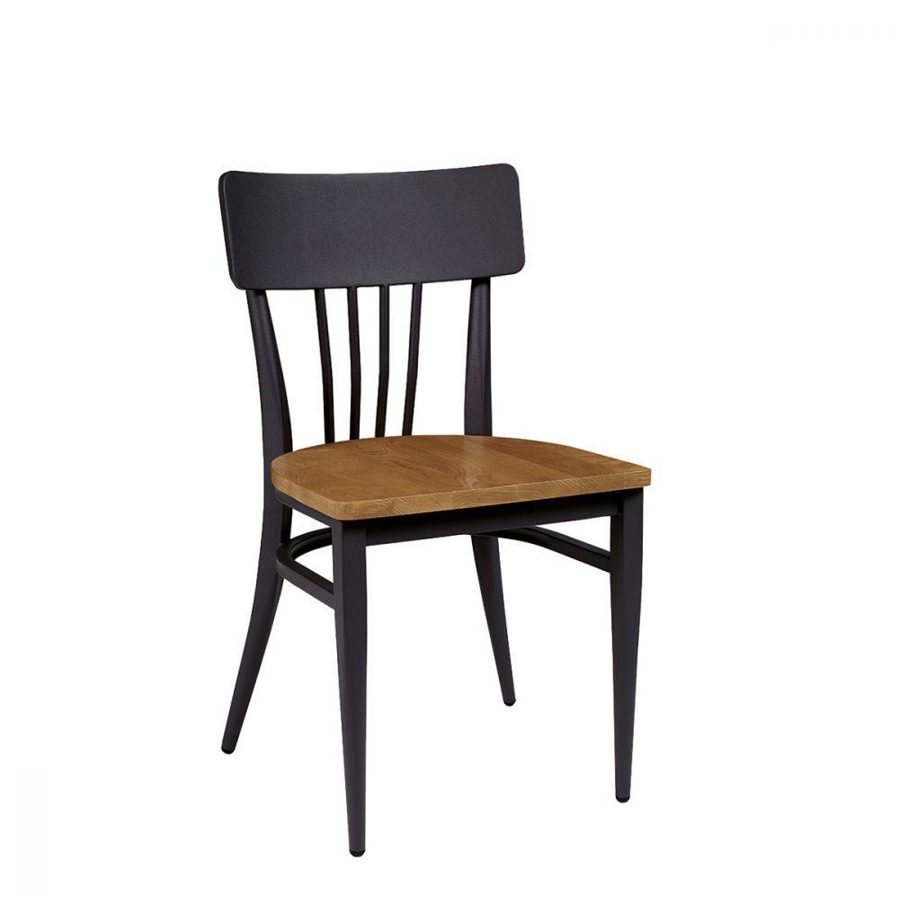 Silla Nebraska negra con asiento madera macizo REYMA
