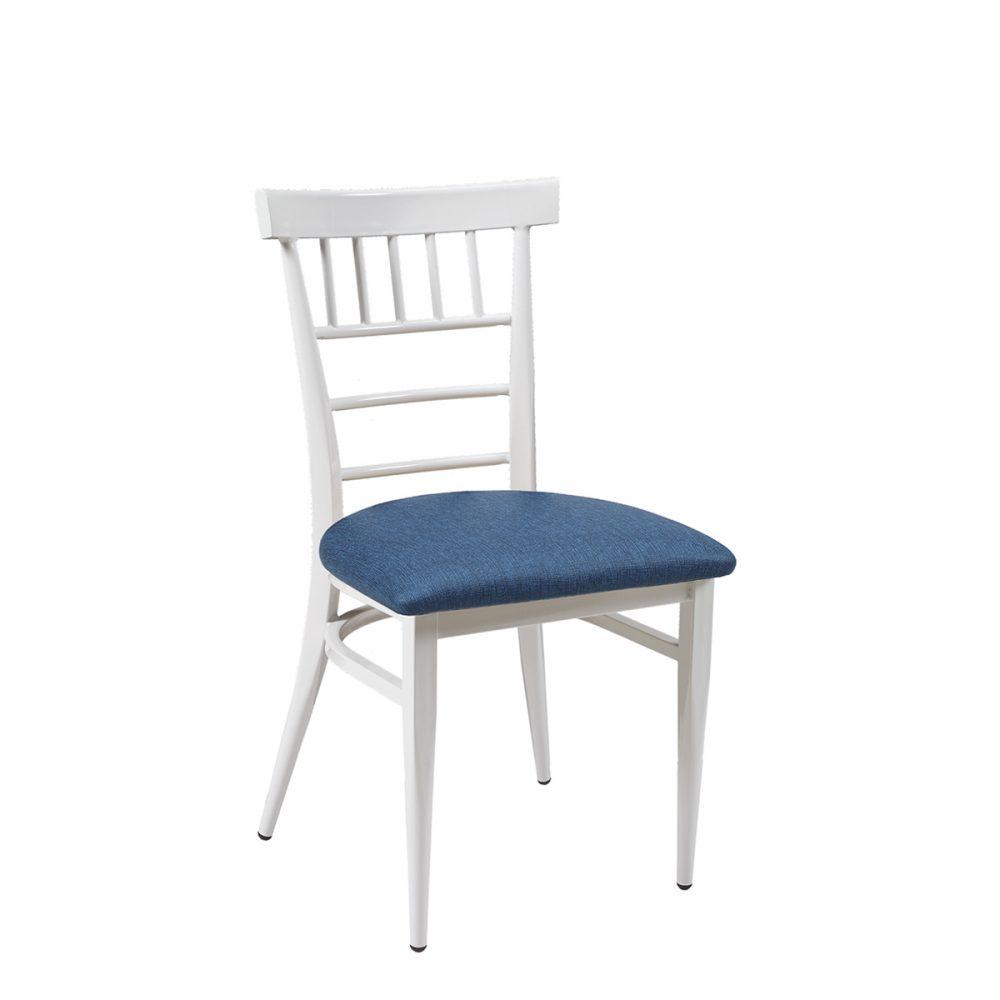 silla nevado blanco tapizado azul
