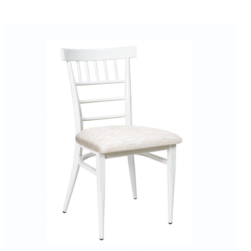 silla nevada blanca con asiento tapizado