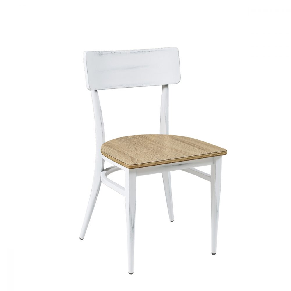 silla pensilvania blanca asiento laminado roble