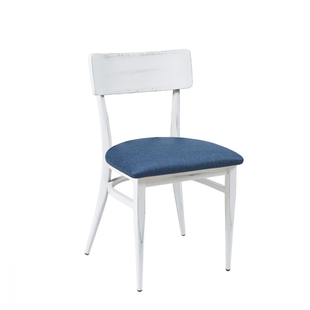 silla pensilvania blanca asiento tapizado azul