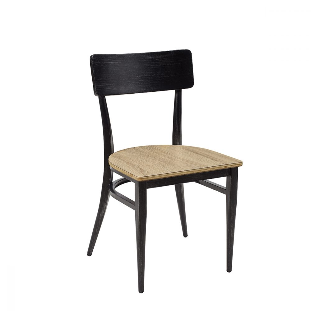 silla pensilvania negro envejecido asiento laminado roble