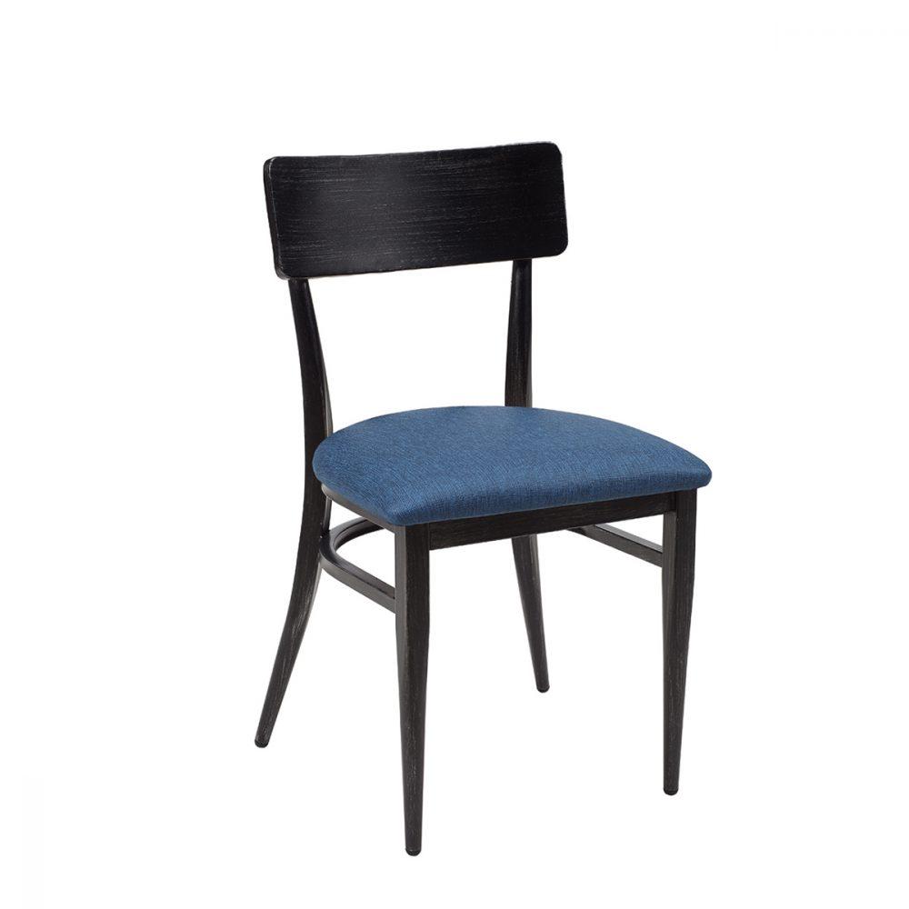 silla pensilvania negro envejecido tapizado azul