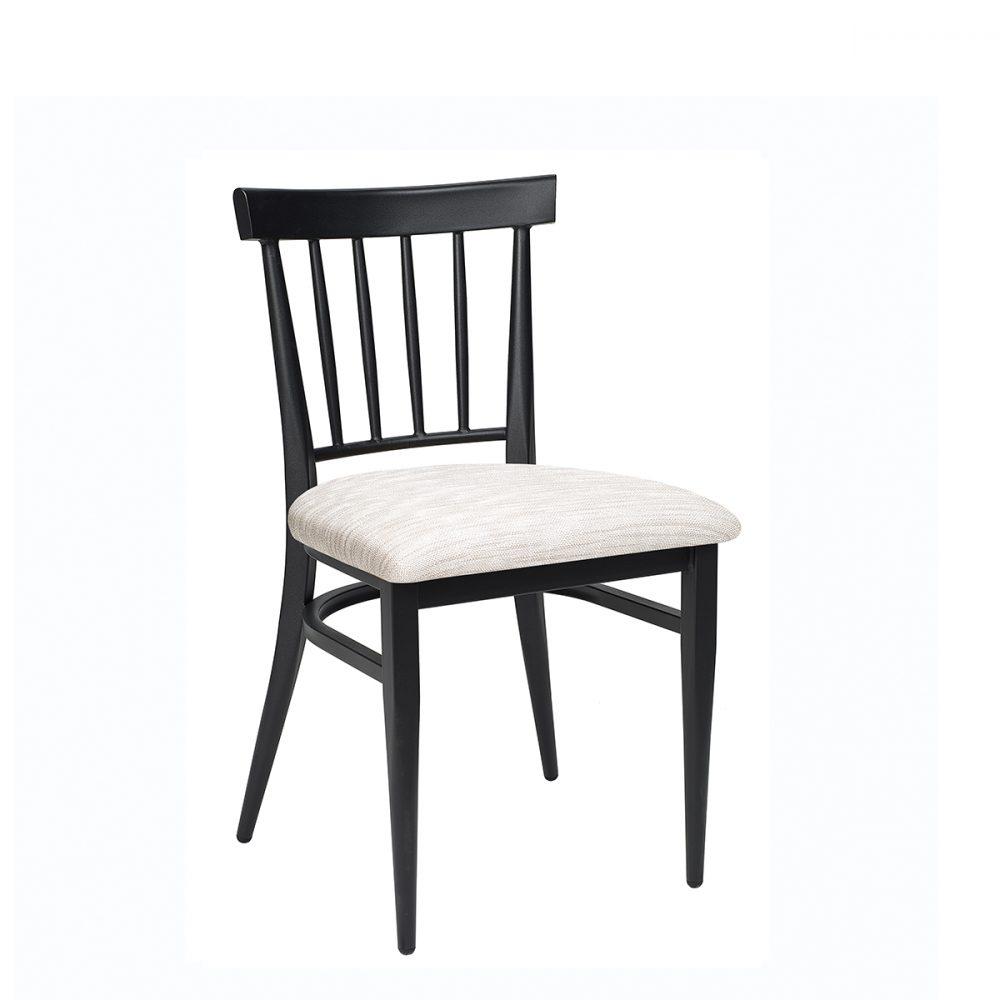 silla arizona negra con asiento tapizado indiana