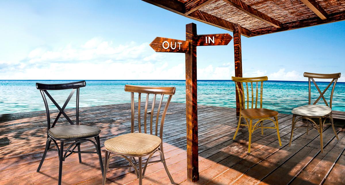 versiones indoor y outdoor mobiliario hostelería y terraza