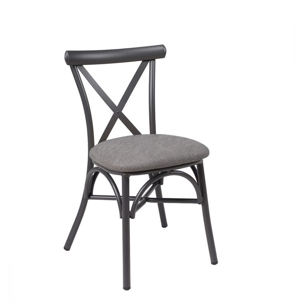 silla atico grafito tapizado gris