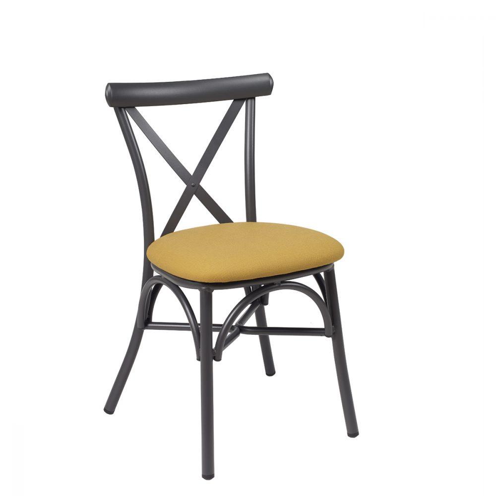 silla atico grafito tapizdo mostaza