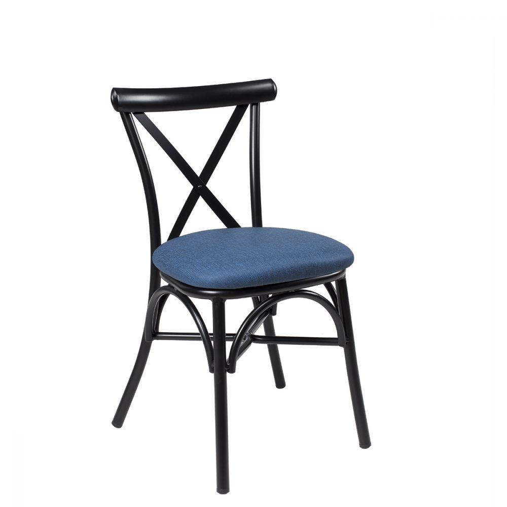 silla atico negro tapizado azul