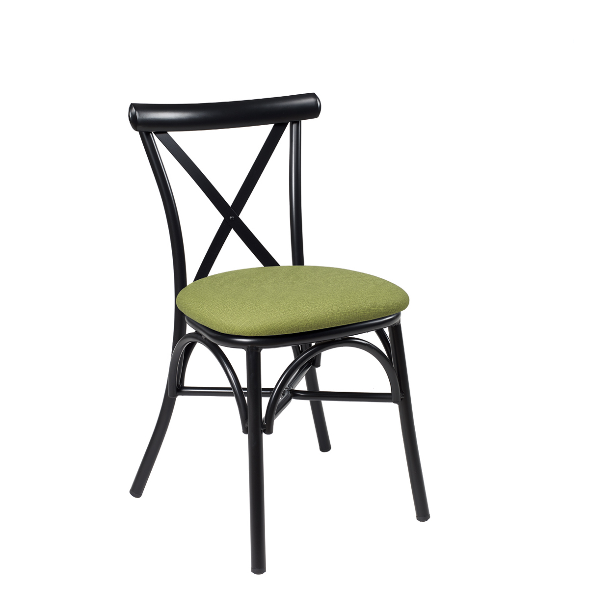 silla atico negro tapizado verde