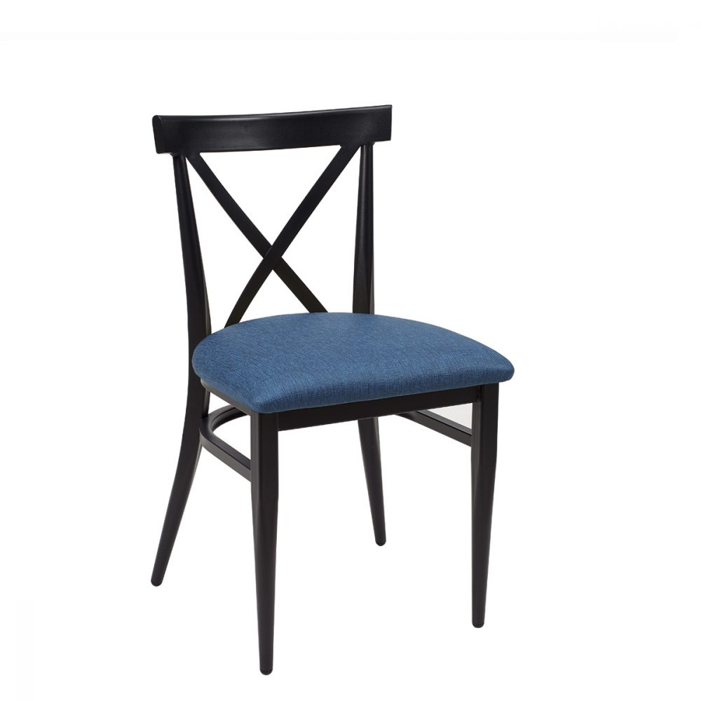 silla orlando negro tapizado azul