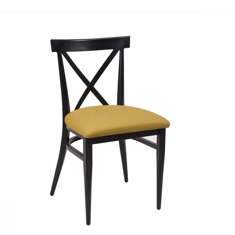 silla orlando negro tapizado mostaza