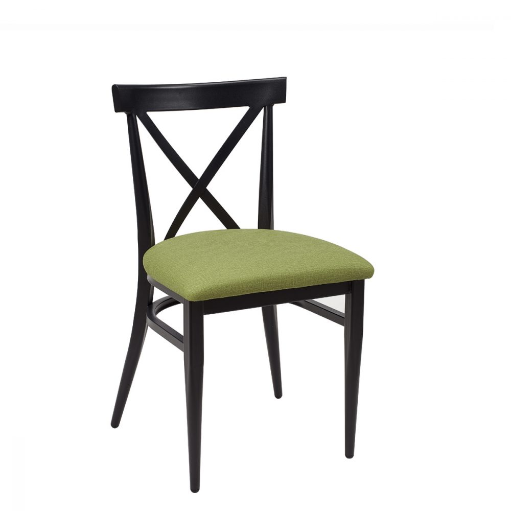 silla orlando negro tapizado verde