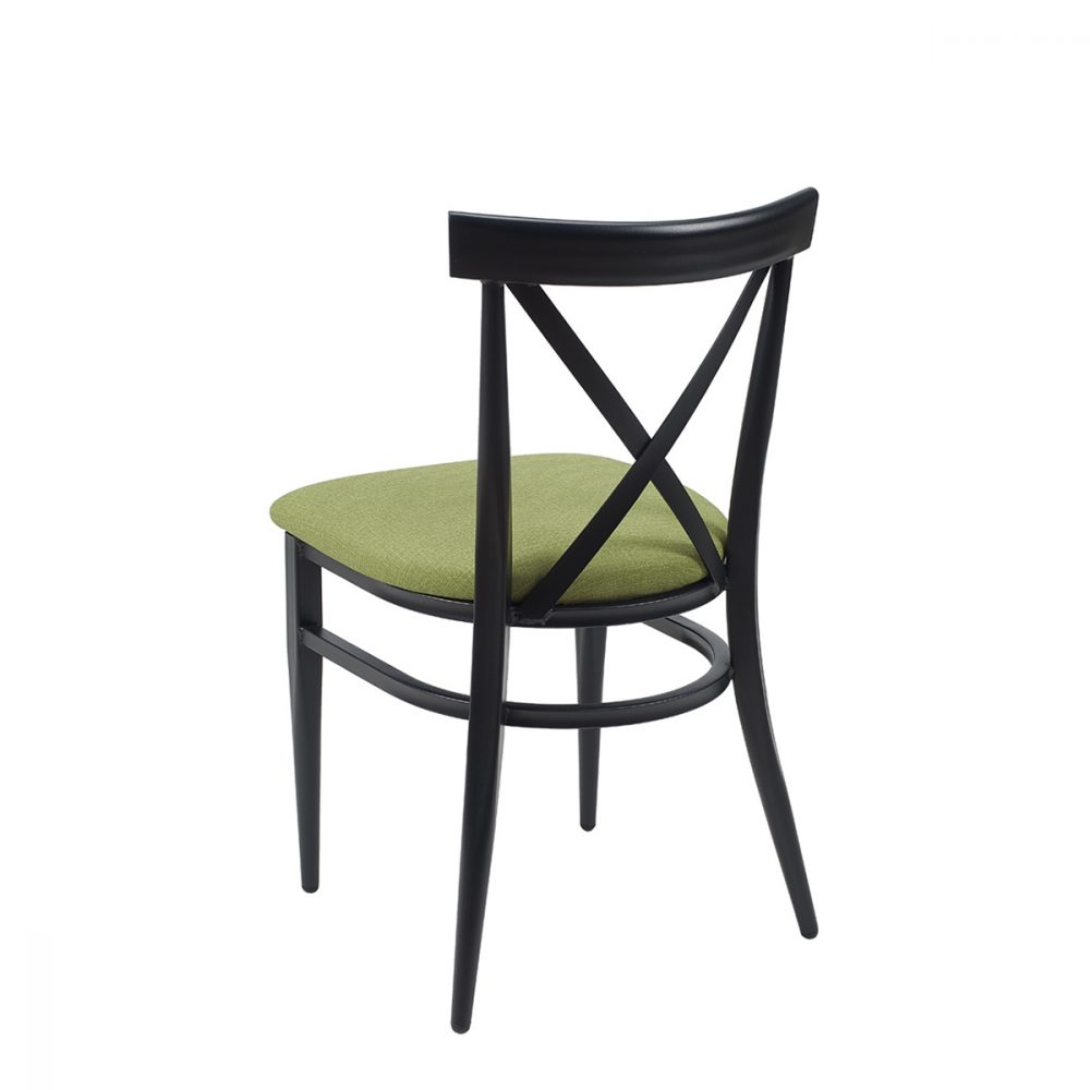 silla orlando negro tapizado verde trasera