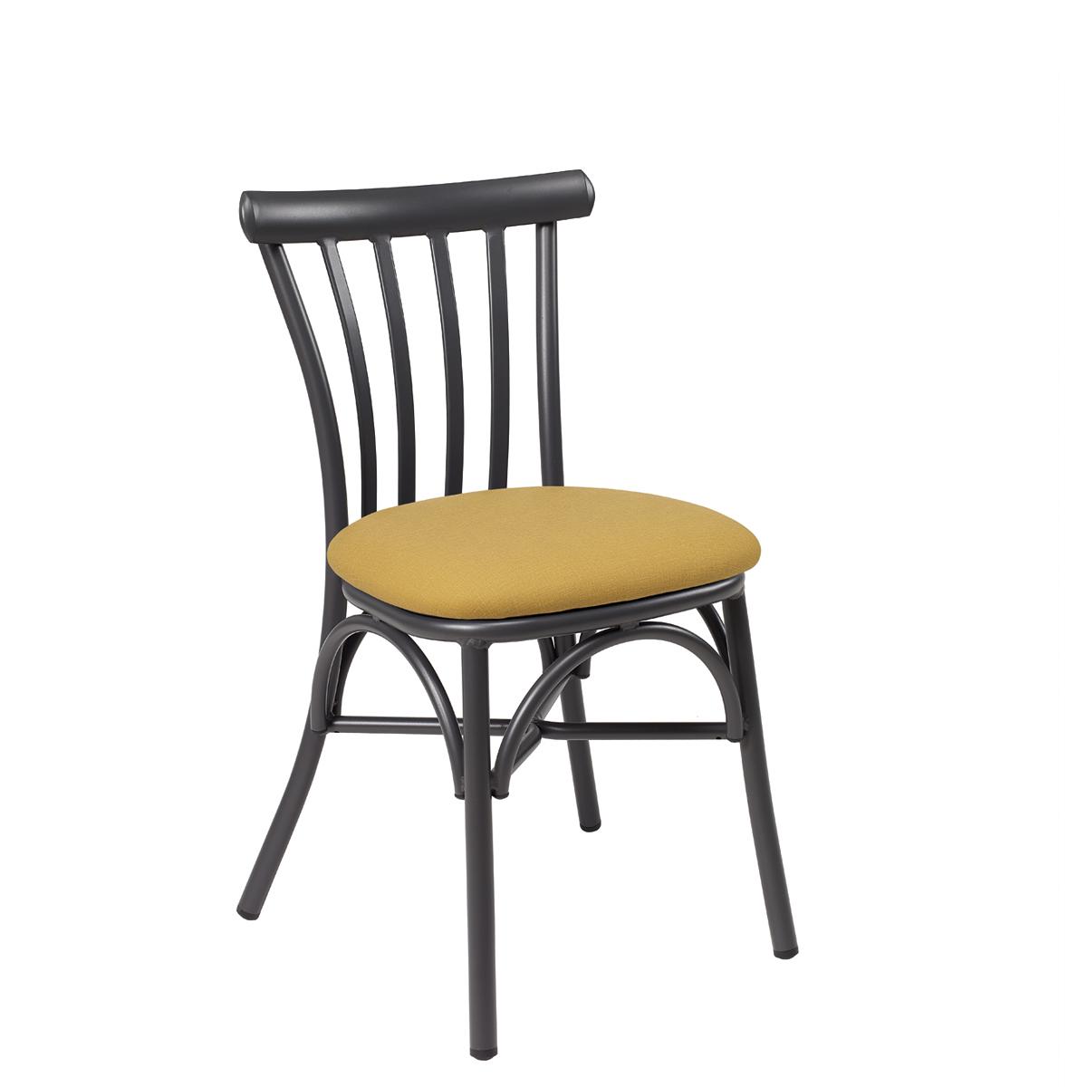 silla portico grafito tapizado mostaza