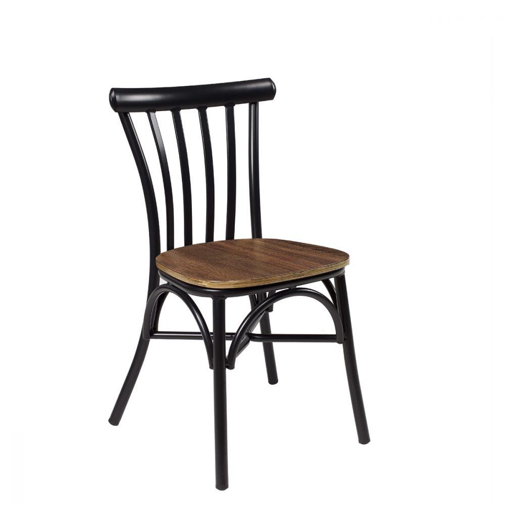 silla portico negro nogal vintage