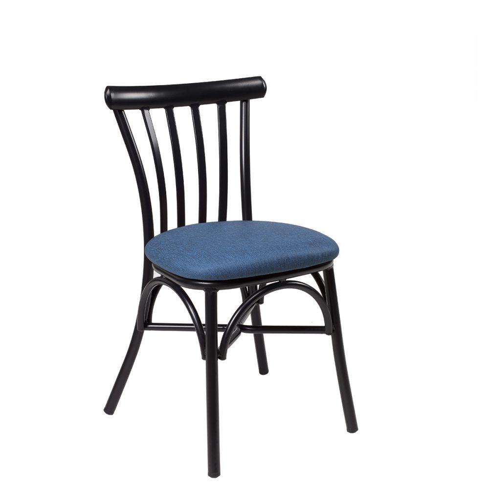 silla portico negro tapizado azul