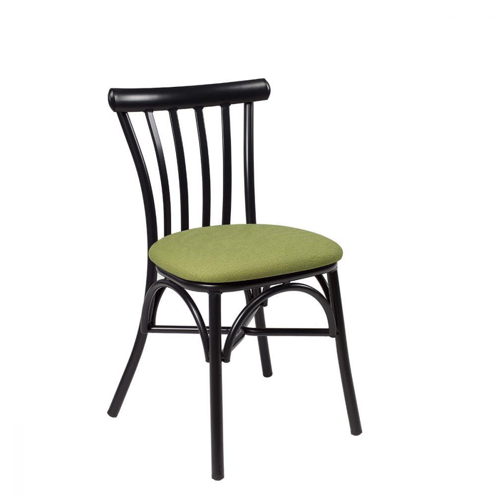 silla portico negro tapizado verde
