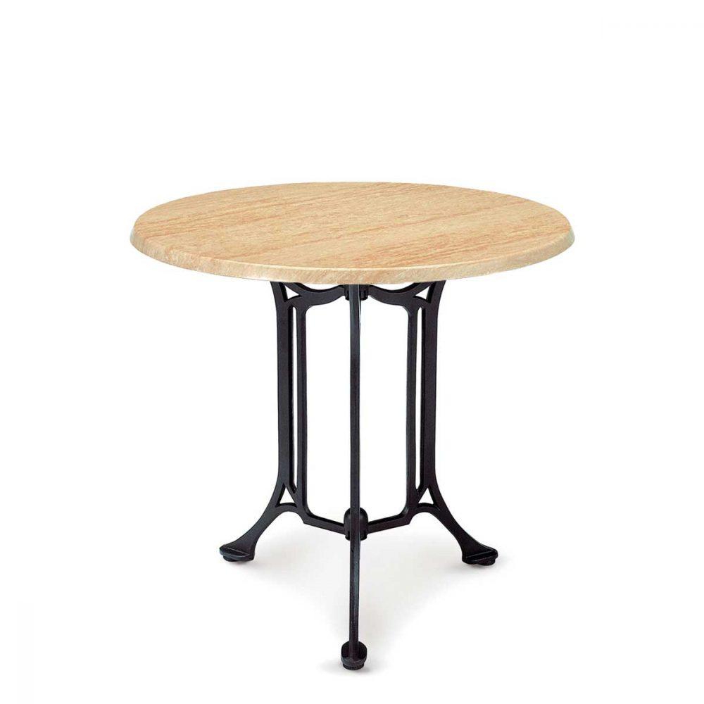 mesa bulevar 3 patas con tablero travertín REYMA