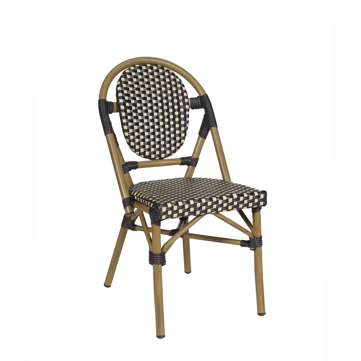 silla charlotte deco bambu medula negro y crema