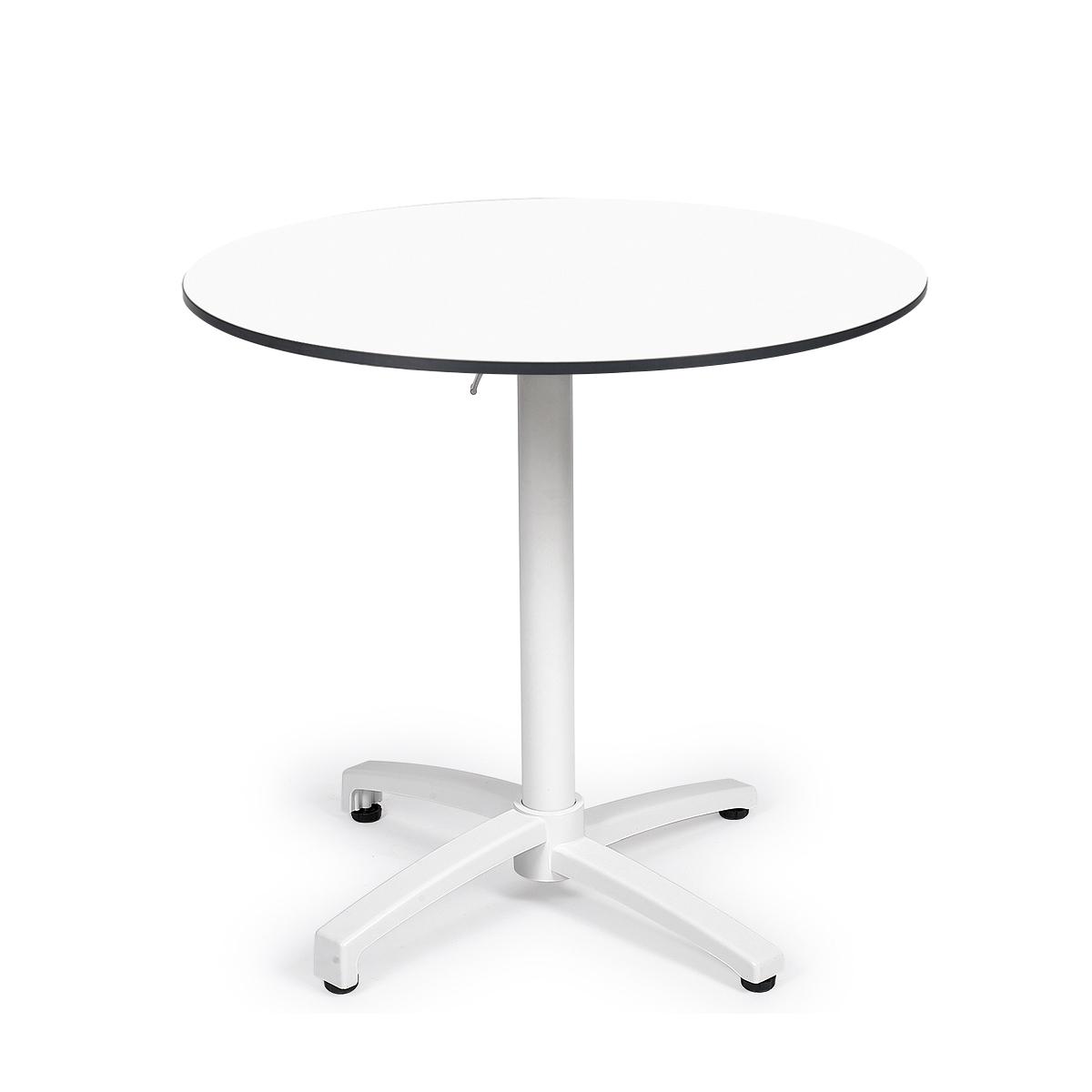 mesa noruega blanca con tablero redondo