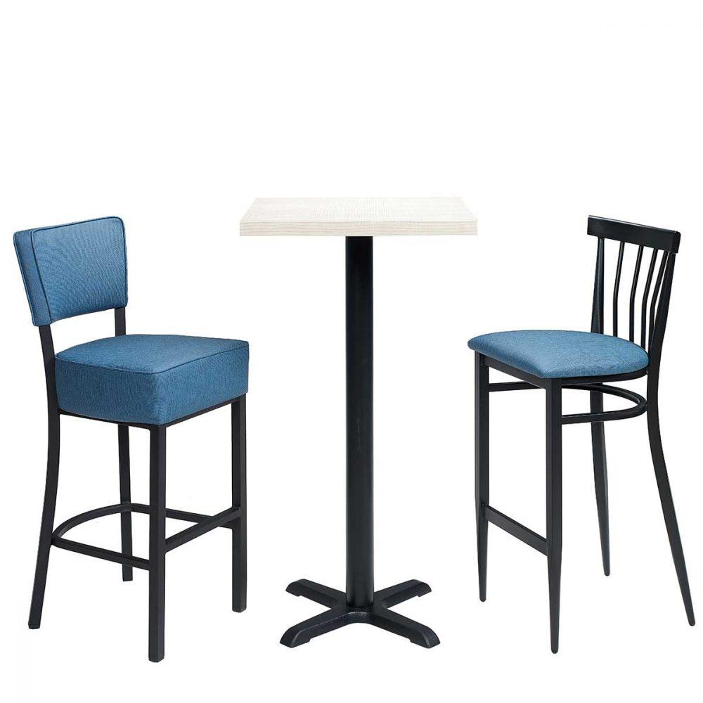 conjunto banqueta bohemia y baltimore con tapizado azul REYMA