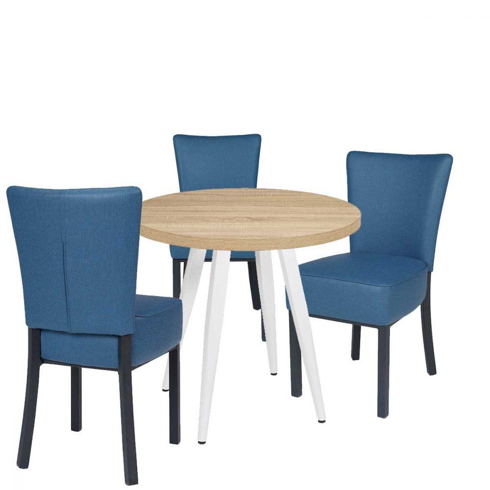 conjunto gran bohemia azul con mesa sanghai-V pata blanca REYMA