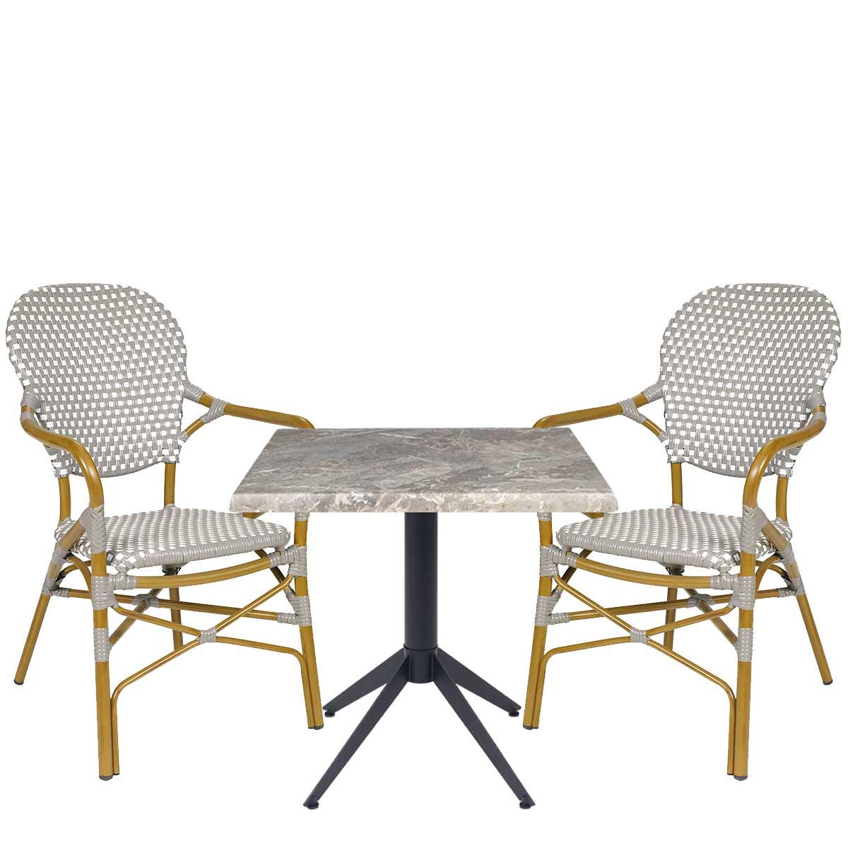 Conjunto sillones Orleans médula gris y blanco REYMA