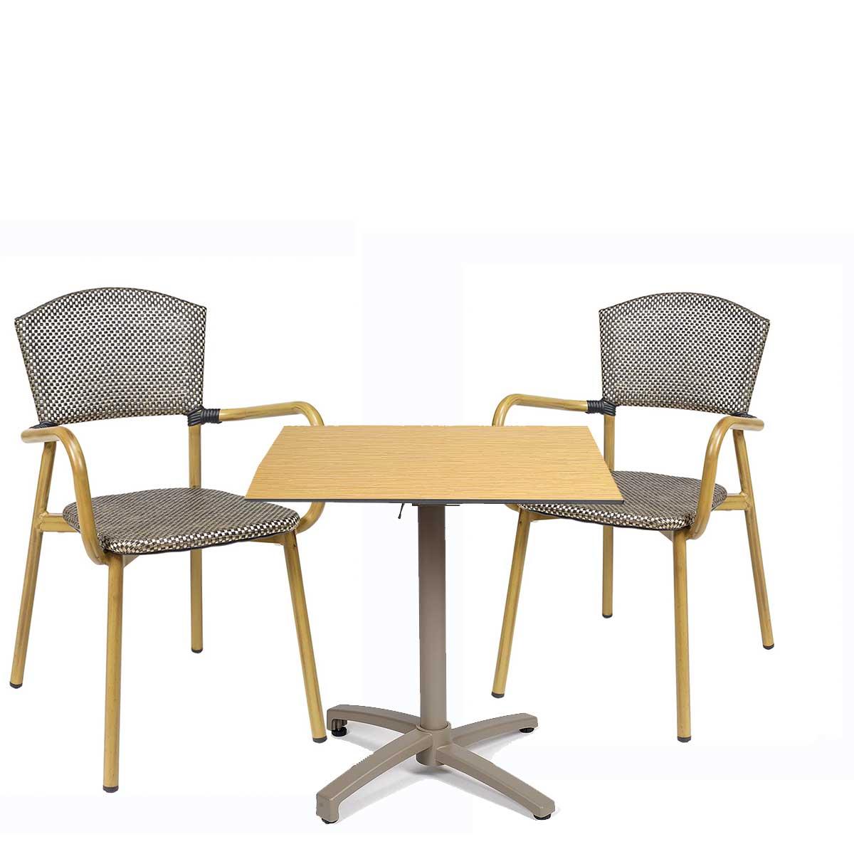 conjunto sillón protofino textilene dorado con mesa noruega taupe REYMA